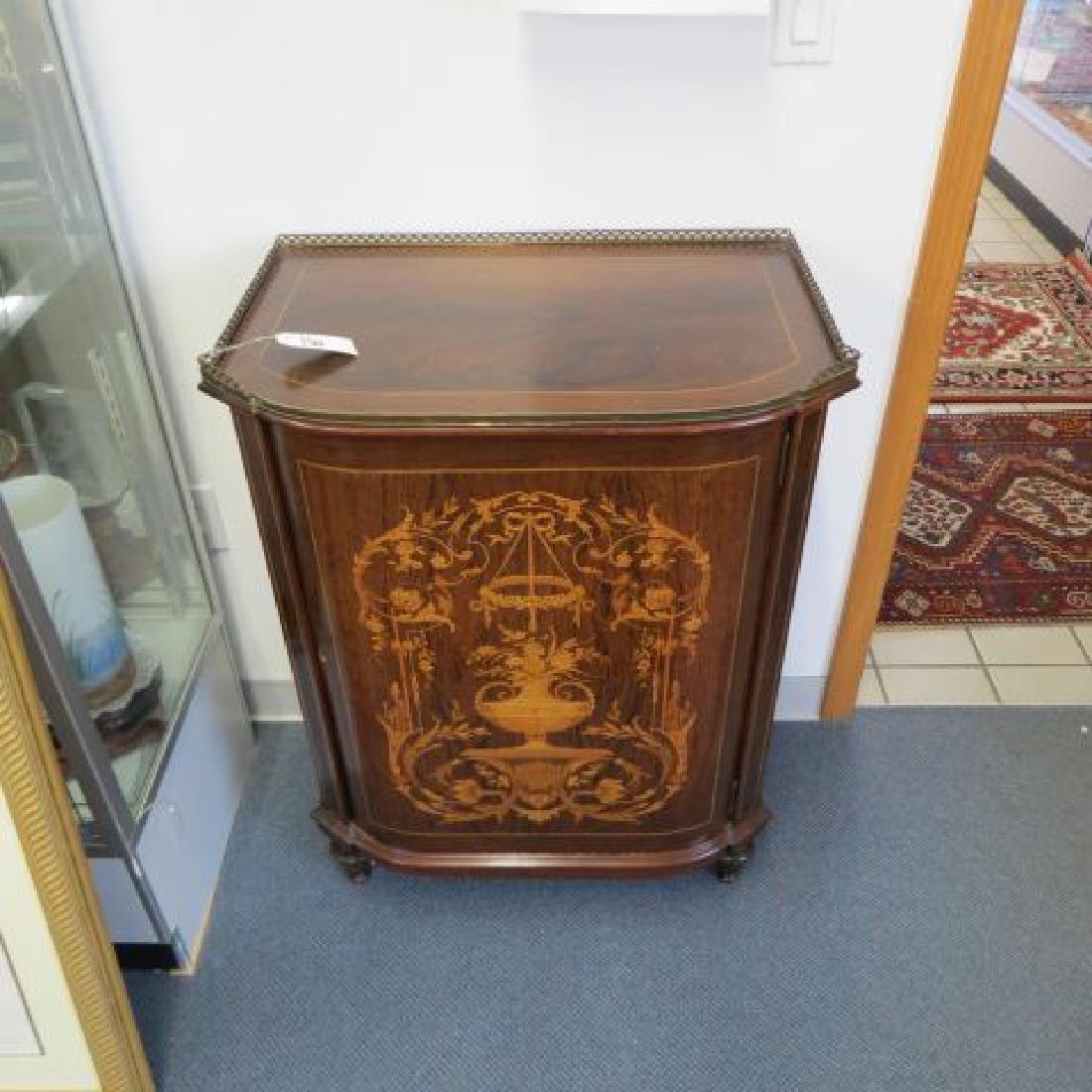 Fine Inlaid Rosewood & Mahogany Music Cabinet,