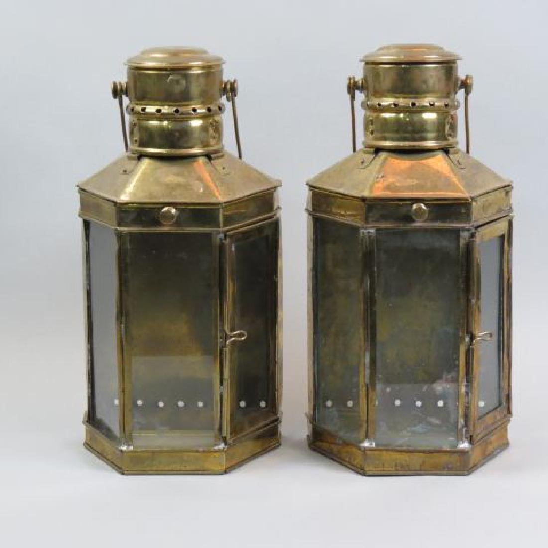 Pair of Ship Style Brass Candle Lanterns,