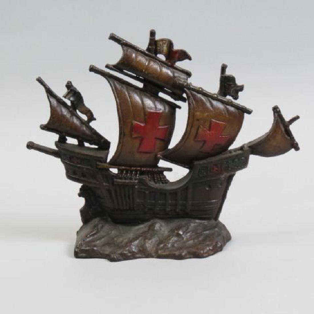 Cast Iron Figural Sailing Ship Doorstop,