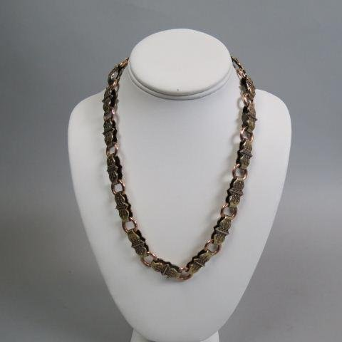 Victorian 14K Gold Necklace Etruscan Style,