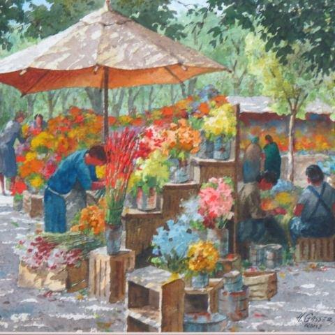Henry Gasser, watercolor, flower market,