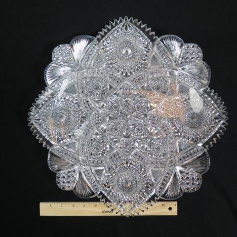"""Rare Brilliant Period Cut Glass 16"""" Tray,"""