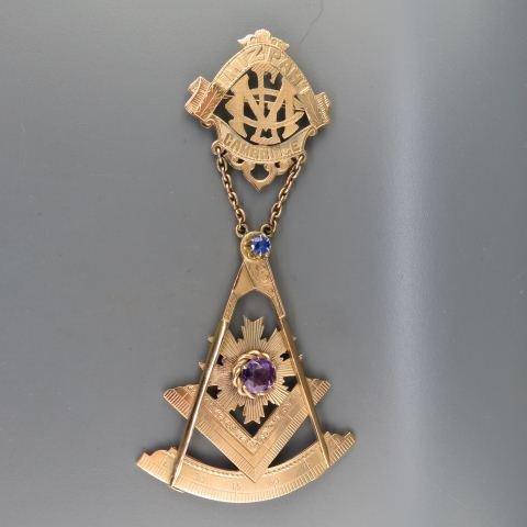 14K Gold Masonic Grand Master Medal Mizpah Lodge,