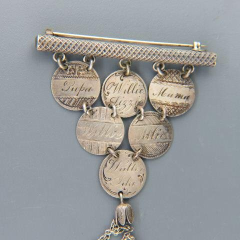 19th Century Love Token Silver Coin Jewelry;
