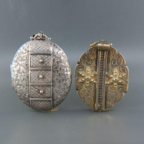 2 English Victorian Sterling Silver Lockets,
