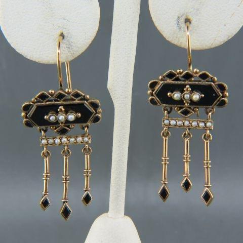 English Victorian Onyx & Pearl Earrings,