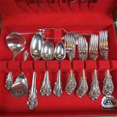 38 pc Wallace Grand Baroque Sterling Flatware Set