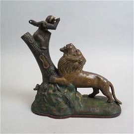 Victorian Cast Iron Mechanical Bank Monkey & Lion,