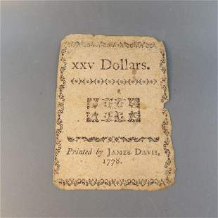 1778 North Carolina $25 Continental Currency Note,