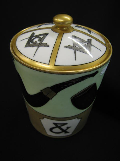 12: Haviland Limoges Handpainted Tobacco Jar, Masonic d