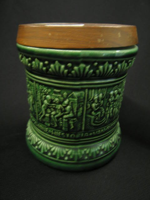 14: German Art Pottery Tobacco Jar, bas-relief medieval