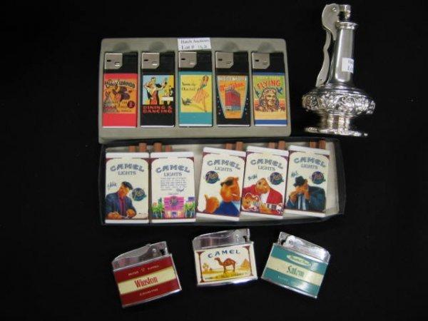 162: 14 Cigarette Lighters; Ronson silverplate table mo