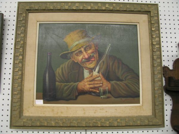 "211: K. Szewczenko Oil on Canvas ""Happy Drunk"", image a"