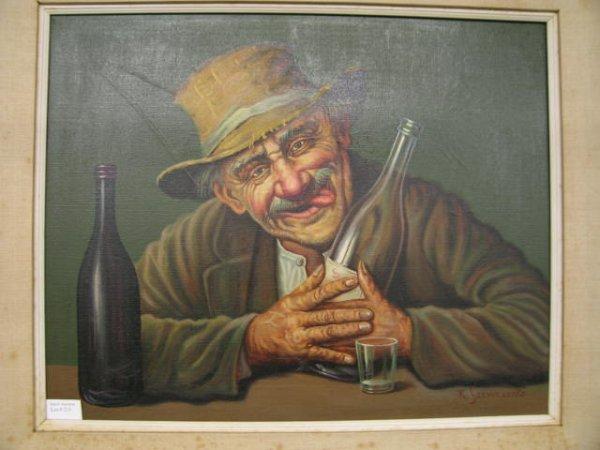 "211: K. Szewczenko Oil on Canvas ""Happy Drunk"", image a - 2"