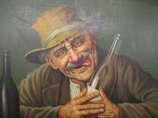 "211: K. Szewczenko Oil on Canvas ""Happy Drunk"", image a - 3"