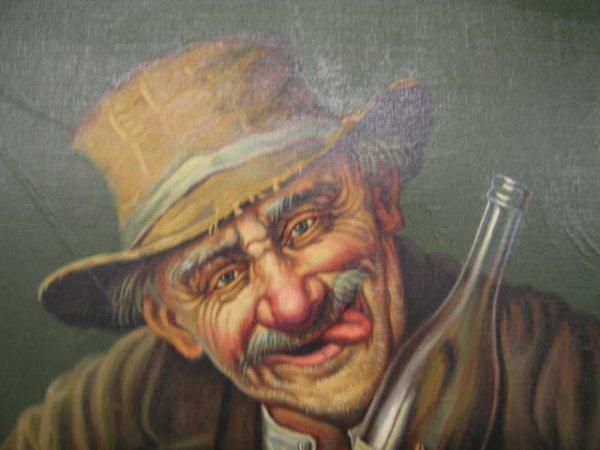 "211: K. Szewczenko Oil on Canvas ""Happy Drunk"", image a - 4"