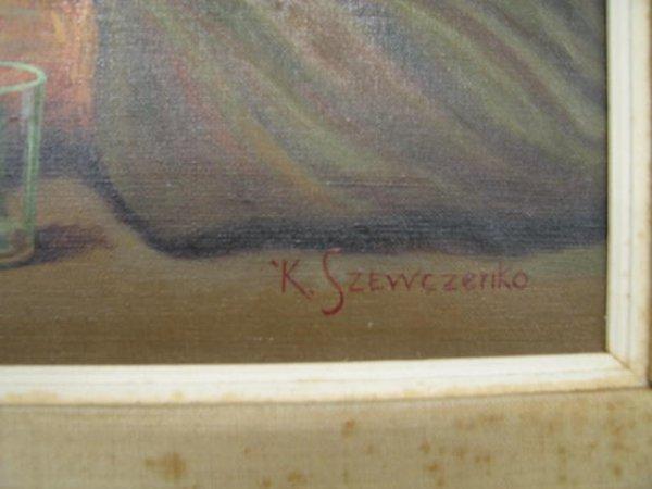 "211: K. Szewczenko Oil on Canvas ""Happy Drunk"", image a - 5"