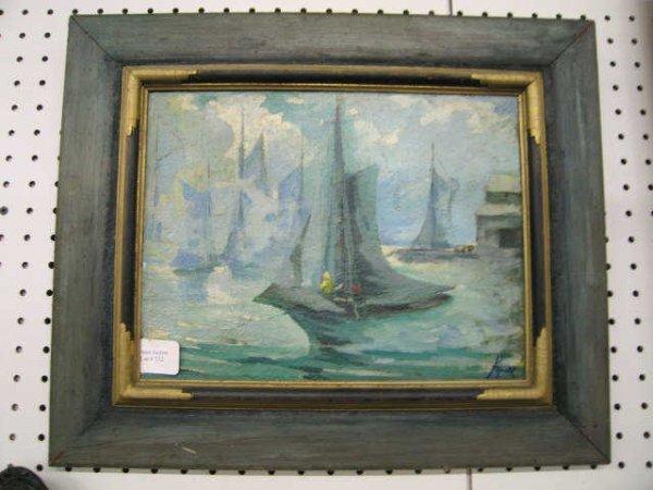 512: Impressionistic Oil on Masonite of Harbor Scene, s
