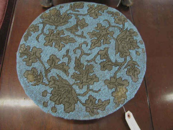 """514: Victorian Footstool, turquoise beaded top, 13"""" dia"""