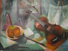 736: Margaret Kelly Oil on Canvas, still life with viol