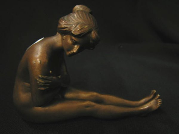 785A: Art Deco Figural Nude Nut Cracker, brass or Frenc