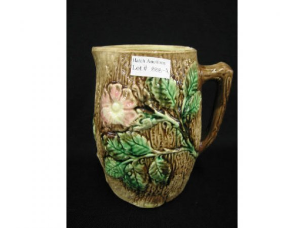 888A: Victorian Majolica Pottery Pitcher, rose on tree