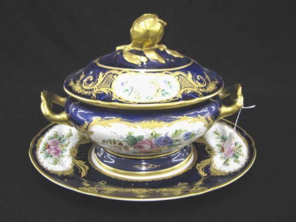1000: Superb Limoges Porcelain Cobalt & Gold Tureen, ha