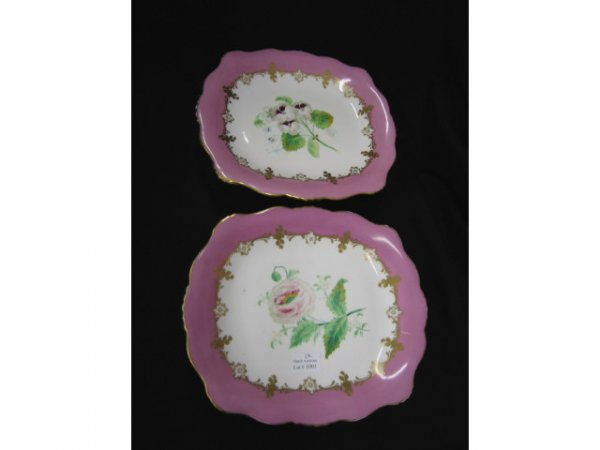 1001: Pair of Rockingham Porcelain Dessert Stands, hand