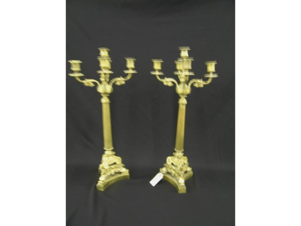 1009: Pair of French Victorian Bronze Candelabra, five