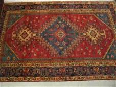 1034: Hamadan Persian Handmade Rug, geometrics red fiel