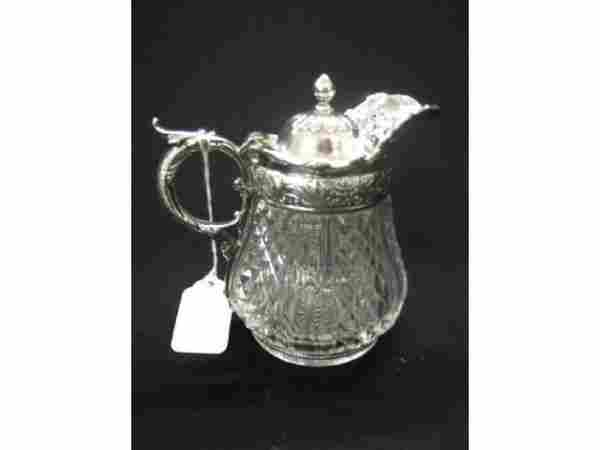 """Victorian Silverplate & Crystal Syrup Pitcher, 5"""""""