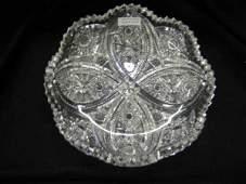 1503 Brilliant Period Cut Glass Dish four petal desig