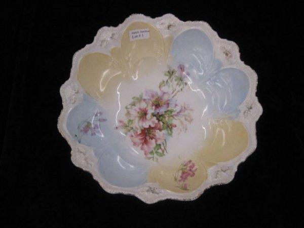 1: R.S. Prussia Porcelain Berry Bowl, floral decor, unm