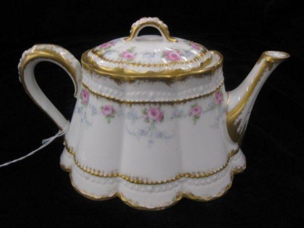 2: Haviland Limoges Porcelain Teapot, elegant floral, e
