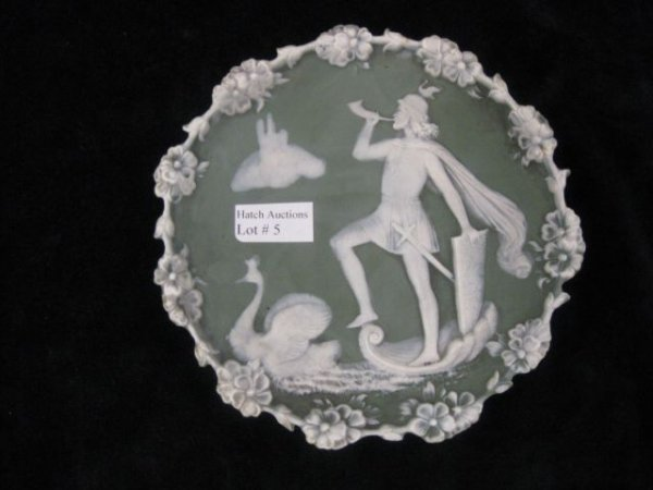 "5: German Jasperware Plaque, knight & swan, 5 3/4"", exc"