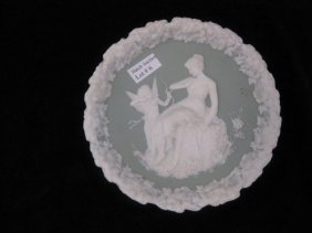 "6: German Jasperware Plaque, maiden & cupid, 6"", excell"