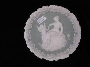 """6: German Jasperware Plaque, maiden & cupid, 6"""", excell"""