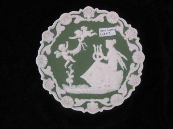 "7: Jasperware Plaque, maiden & cherubs, 6""."