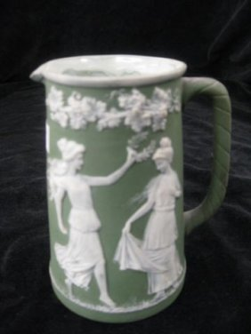 8: German Jasperware Creamer, maidens in garden, 4 1/2""