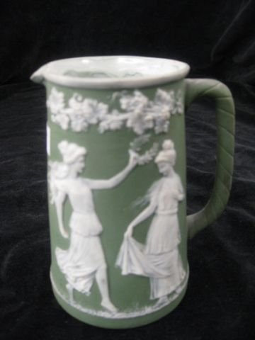 """8: German Jasperware Creamer, maidens in garden, 4 1/2"""""""