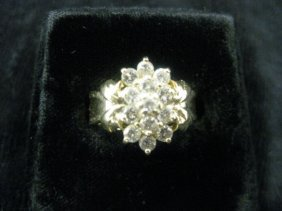 10: Diamond Ring, fine cluster of high grade round diam