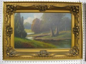 Victorian Oil On Canvas, Spring Landscape With Stre