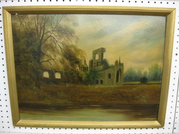 13: 19th Century Oil on Board of Ruins, along the water