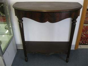 """14: Mahogany Demilune Table, 32"""" tall, 34"""" wide."""