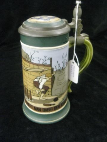 17: Mettlach Etched Pottery Stein, bowling scene, #2957