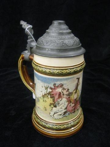 19: Mettlach Pottery Stein, #960/2177, .25 liter, pewte