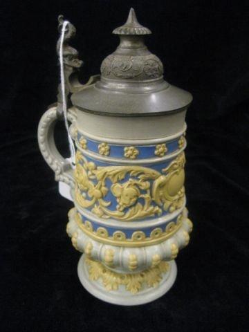 20: Mettlach Pottery Stein, .3 liter, pewter lid, bas-r