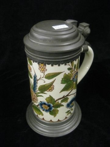 21: Mettlach Pottery Stein, Faience style, pewter lid,