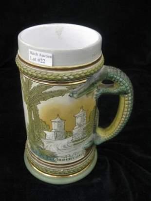 22: German Pottery Stein, etched St. Augustine & aligat