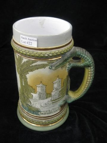 22: German Pottery Stein, etched St. Augustine & aligat